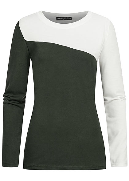 Styleboom Fashion Damen 2-Tone Longsleeve weiss military grün