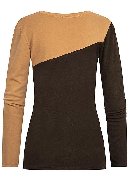 Styleboom Fashion Damen 2-Tone Longsleeve beige braun