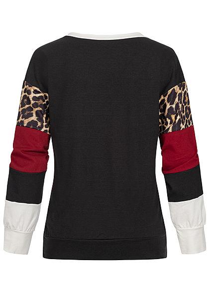 Styleboom Fashion Damen Colorblock Sweater Leo Print multicolor