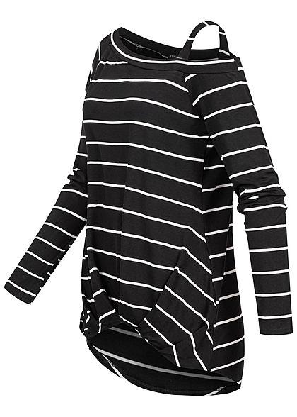 Styleboom Fashion Damen One-Cold-Shoulder Longsleeve Streifen Muster schwarz weiss