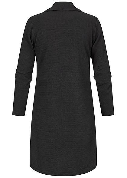 Styleboom Fashion Damen Draped Midi Cardigan 2-Pockets offener Schnitt schwarz