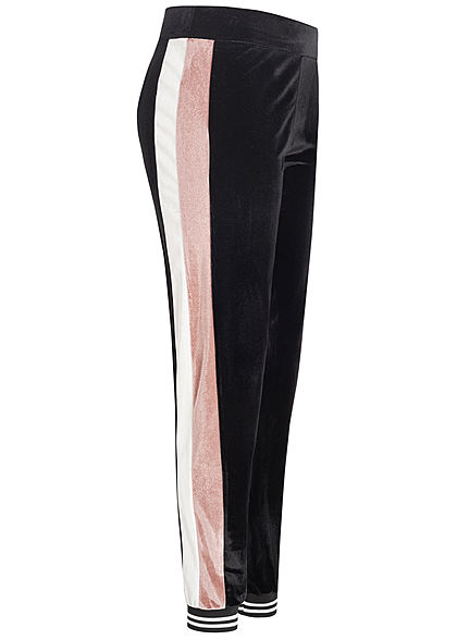 Styleboom Fashion Damen Colorblock Velour Jogging Hose schwarz rosa weiss