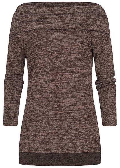 Styleboom Fashion Damen Off-Shoulder Melange Pullover Vokuhila braun melange