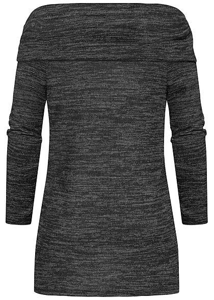 Styleboom Fashion Damen Off-Shoulder Melange Pullover Vokuhila schwarz melange