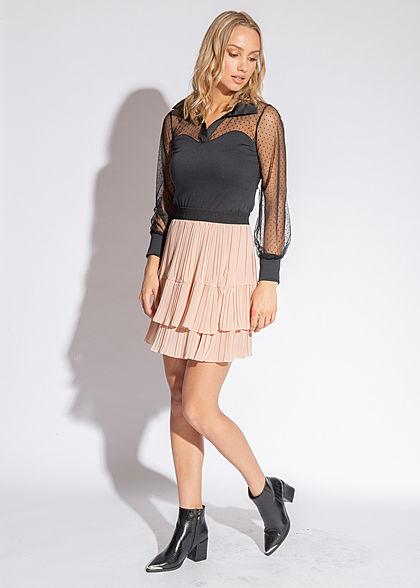Styleboom Fashion Damen Body Longsleeve Mesh Detail Punkte Muster schwarz