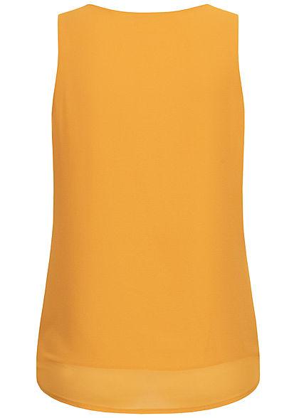 Styleboom Fashion Damen V-Neck Chiffon Top 2-lagig Wickeloptik senf gelb