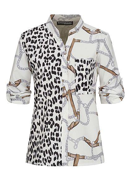 Styleboom Fashion Damen Turn-Up Bluse Brusttasche Leo & Ketten Print weiss