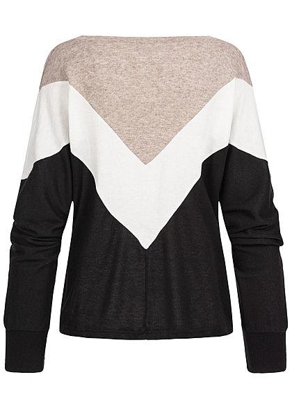 Styleboom Fashion Damen Arrow Colorblock Longsleeve beige weiss schwarz