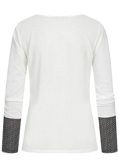 Styleboom Fashion Damen 2-Tone Longsleeve Brusttasche Zick Zack Print weiss schwarz