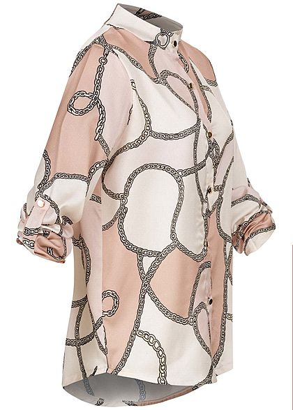 Styleboom Fashion Damen High-Neck Turn-Up Bluse Ketten Print  weiss rosa beige