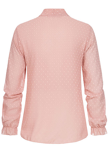 Styleboom Fashion Damen V-Neck Chiffon Bluse Schleife Punkte Muster old rosa