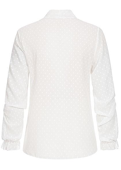 Styleboom Fashion Damen V-Neck Chiffon Bluse Schleife Punkte Muster weiss