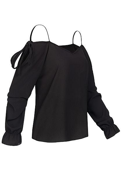Styleboom Fashion Damen Cold-Shoulder Chiffon Bluse Struktur-Stoff schwarz