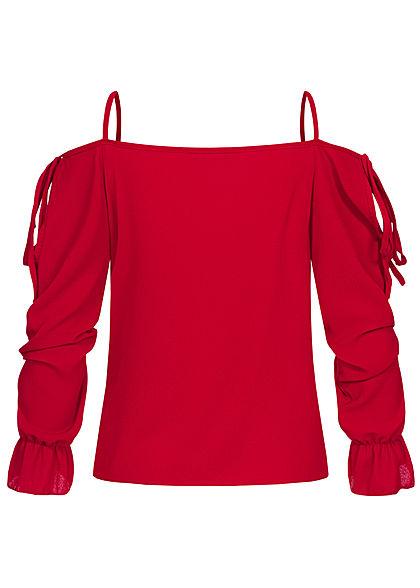 Styleboom Fashion Damen Cold-Shoulder Chiffon Bluse Struktur-Stoff bordeaux rot