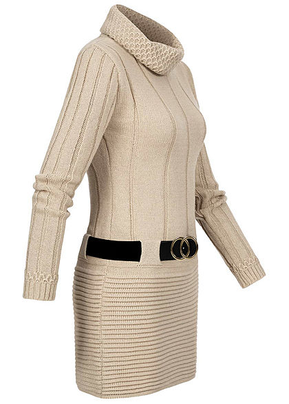 Styleboom Fashion Damen Turtle-Neck Strickkleid inkl. Gürtel beige
