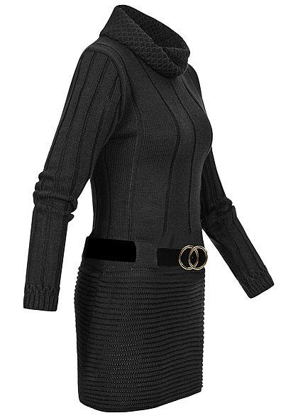 Styleboom Fashion Damen Turtle-Neck Strickkleid inkl. Gürtel schwarz