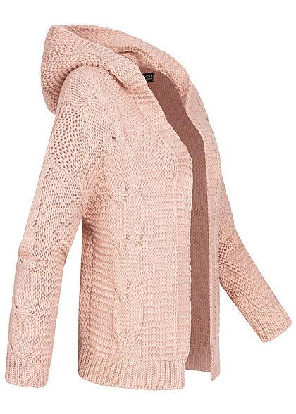 Styleboom Fashion Damen Kurz-Strick-Cardigan Kapuze offener Schnitt rosa