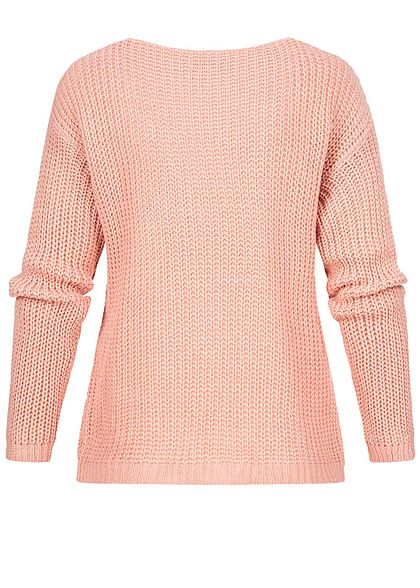 Styleboom Fashion Damen V-Neck Strickpullover Schnüre vorne old rosa