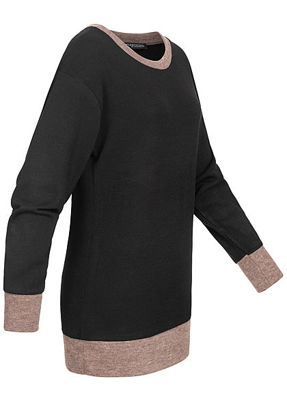 Styleboom Fashion Damen 2-Tone Long Sweater schwarz fango braun