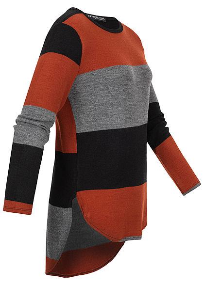 Styleboom Fashion Damen Oversized Strickpullover Streifen rost grau schwarz