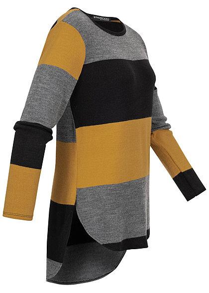 Styleboom Fashion Damen Oversized Strickpullover Streifen grau schwarz gelb