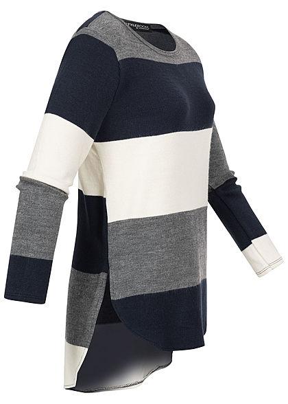 Styleboom Fashion Damen Oversized Strickpullover Streifen navy blau weiss grau