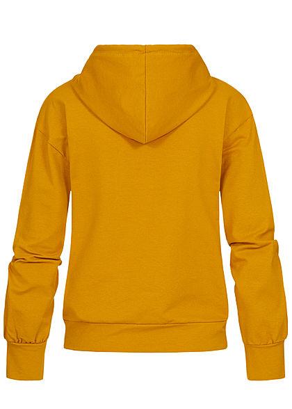 Styleboom Fashion Damen Hoodie Kapuze Tunnelzug San Francisco Print senf gelb