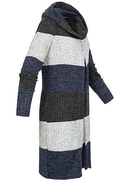 Styleboom Fashion Damen Colorblock Streifen Cardigan Kapuze blau schwarz grau