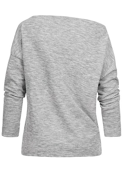 Styleboom Fashion Damen One-Shoulder Sweater Pailletten Brusttasche grau