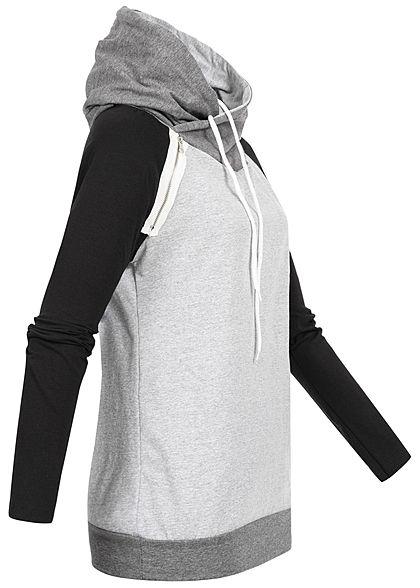 Styleboom Fashion Damen 3-Tone Hoodie Kapuze Zipper seitlich grau schwarz