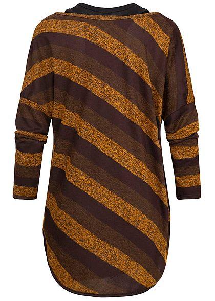 Styleboom Fashion Damen 2in1 Shirt Fledermausärmel Streifen Print braun gelb