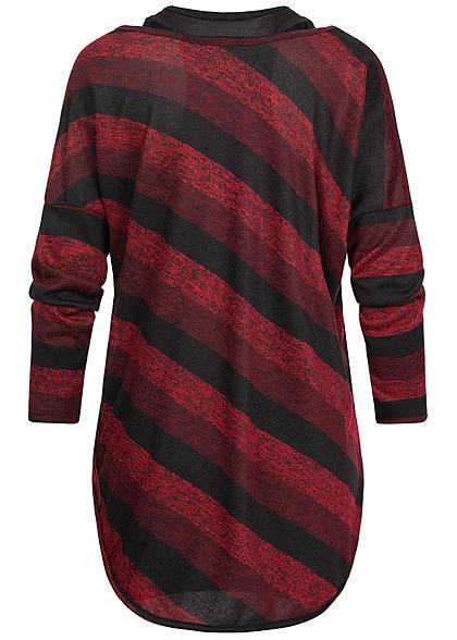 Styleboom Fashion Damen 2in1 Shirt Fledermausärmel Streifen Print rot schwarz