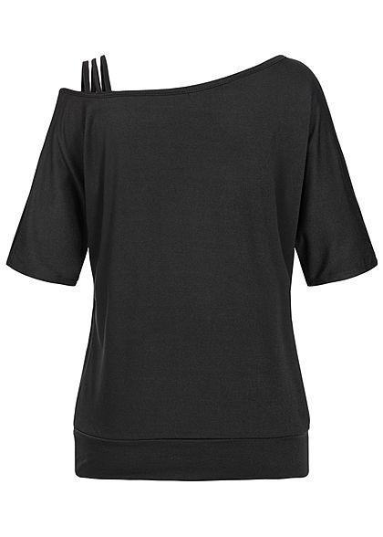 Styleboom Fashion Damen Fledermaus Kurzarm Shirt schwarz