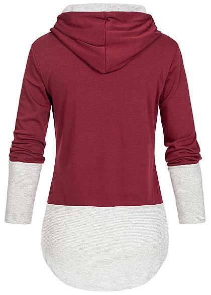 Styleboom Fashion Damen 2-Tone Hoodie Kapuze bordeaux rot grau