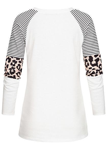 Styleboom Fashion Damen Sweater Streifen & Leo Print weiss