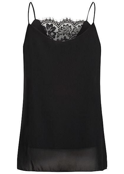 Styleboom Fashion Damen Spitzen Top 2-Lagig schwarz