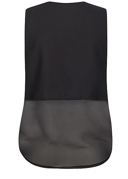 Styleboom Fashion Damen Wrapped Chiffon V-Neck Top 2-lagig schwarz