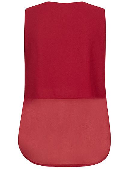 Styleboom Fashion Damen Wrapped Chiffon V-Neck Top 2-lagig bordeaux rot