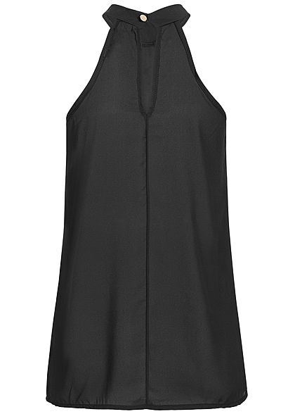 Styleboom Fashion Damen Choker Chiffon Top Blickdicht schwarz