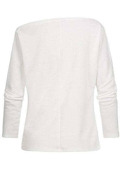 Styleboom Fashion Damen Oversized One-Shoulder Sweater Fledermausärmel weiss