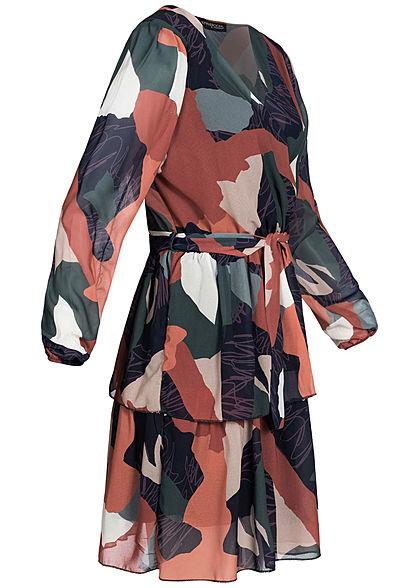 Styleboom Fashion Damen Patchwork Chiffon Kleid Bindegürtel multicolor