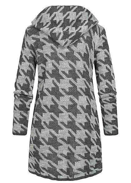 Styleboom Fashion Damen Strick Cardigan Kapuze Hahnentritt Muster medium grau