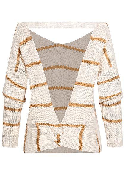 Styleboom Fashion Damen Off-Shoulder Strickpullover Rückenausschnitt beige braun