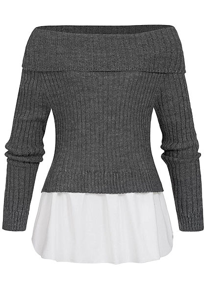Styleboom Fashion Damen Off-Shoulder Strickpullover 2in1 Optik dunkel grau weiss