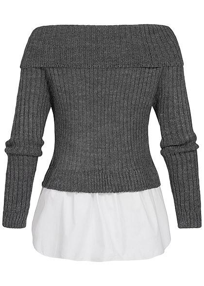 Styleboom Fashion Damen Off-Shoulder Strickpullover 2in1 Optik dunkel grau weiss