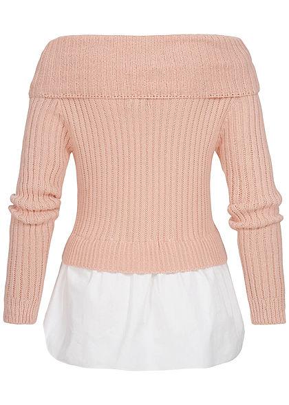 Styleboom Fashion Damen Off-Shoulder Strickpullover 2in1 Optik rosa weiss