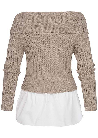 Styleboom Fashion Damen Off-Shoulder Strickpullover 2in1 Optik fango braun weiss
