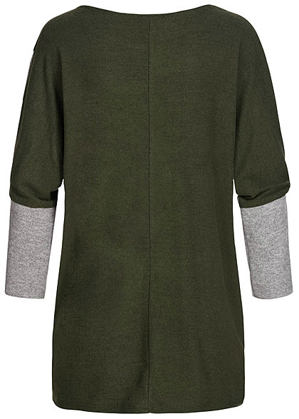 Styleboom Fashion Damen Chenille 2-Tone Shirt oversized military grün grau