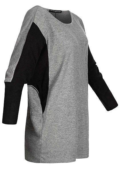 Styleboom Fashion Damen Chenille 2-Tone Shirt oversized grau schwarz