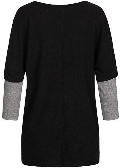 Styleboom Fashion Damen Chenille 2-Tone Shirt oversized schwarz grau